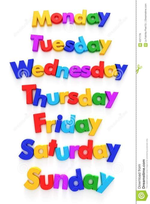 small resolution of days of the week in letter magnets royalty free stock image