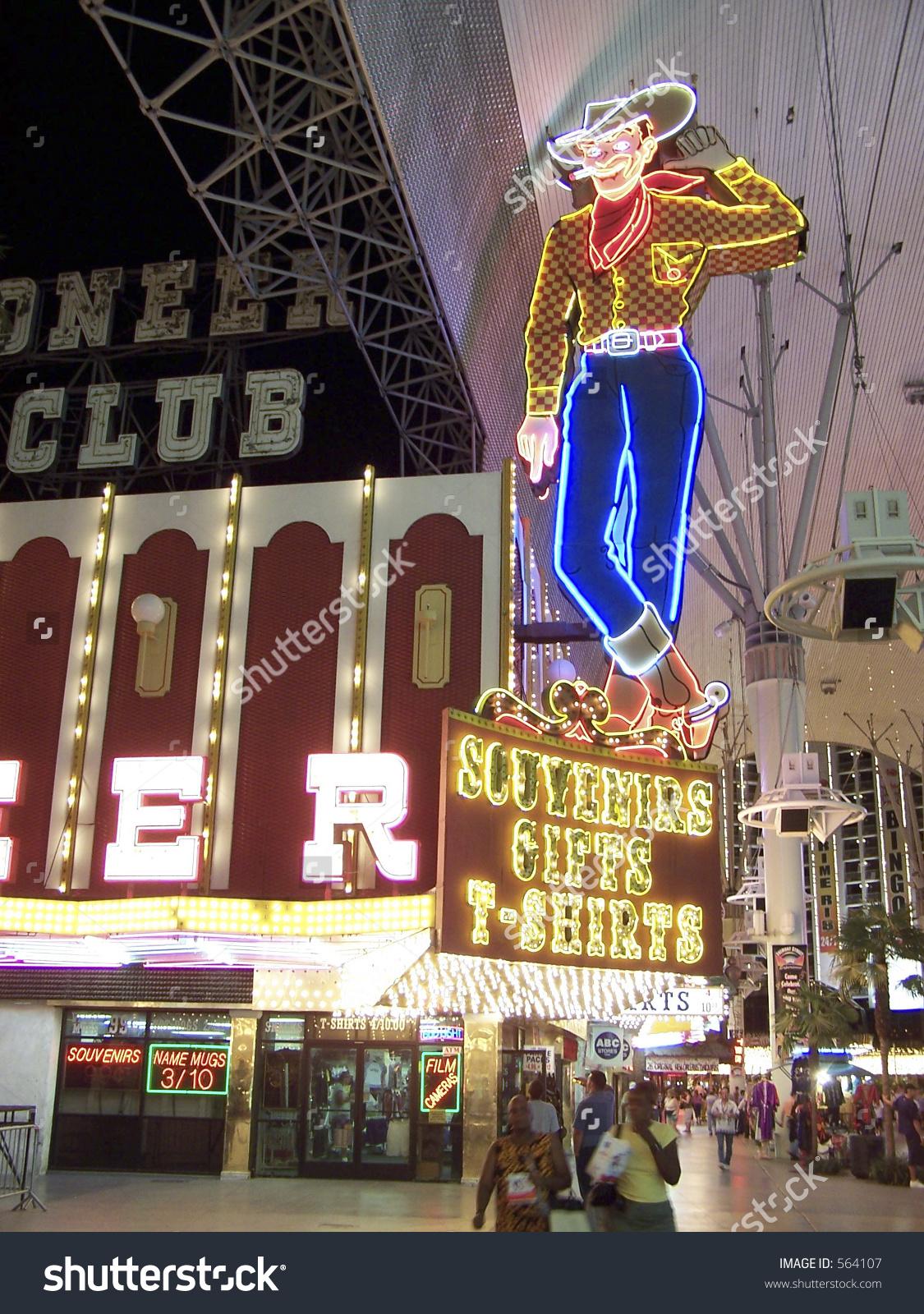 hight resolution of neon cowboy on fremont street las stock photo 564107