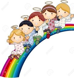 angels on rainbow stock photo picture and royalty free image  [ 1247 x 1300 Pixel ]