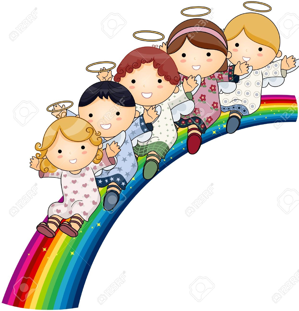 hight resolution of angels on rainbow stock photo picture and royalty free image