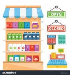 general clipart supermarket flat equipment vector concept illustration clipground shelves concepts web modern