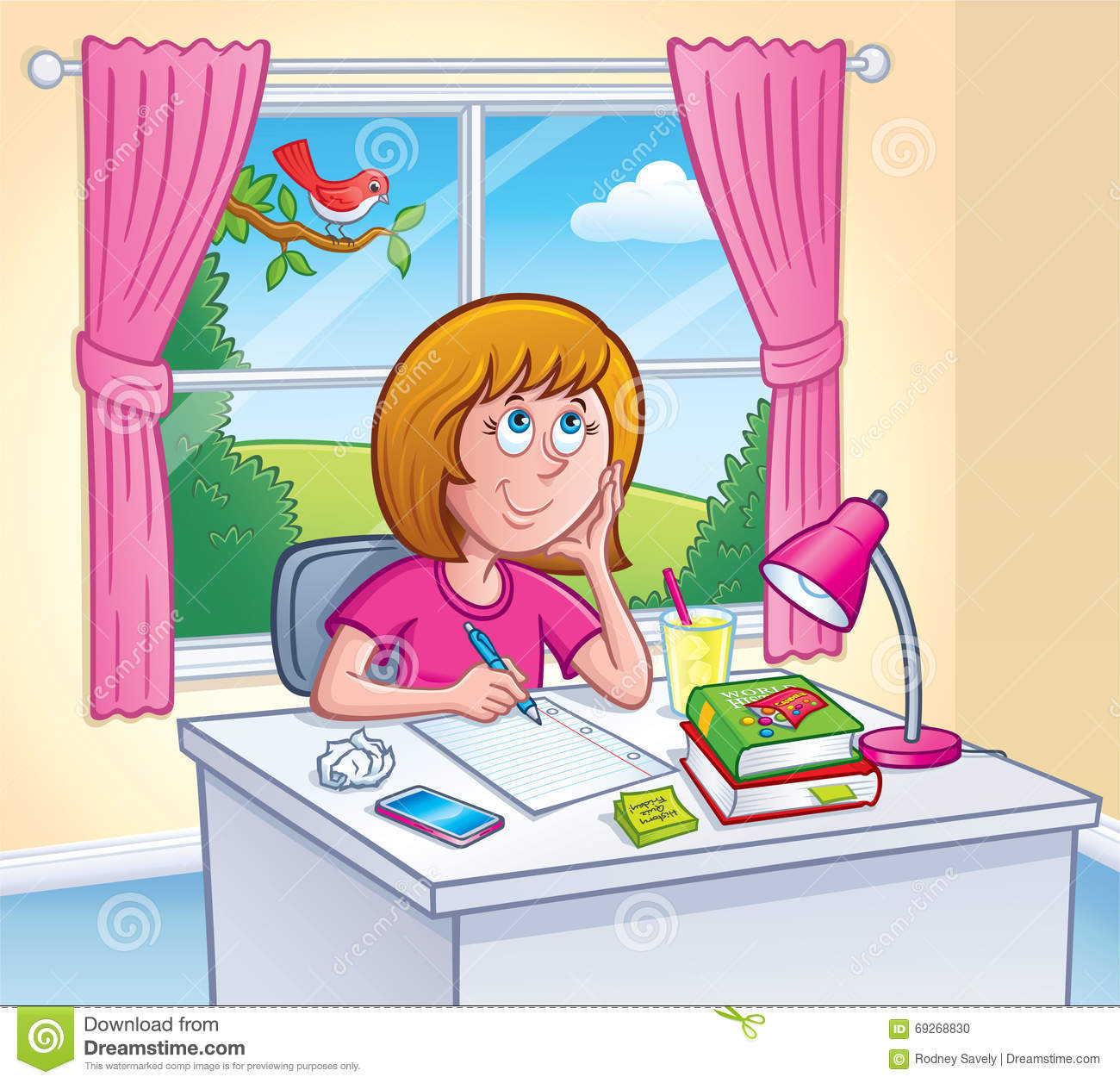hight resolution of showing post media for cartoon girl doing schoolwork