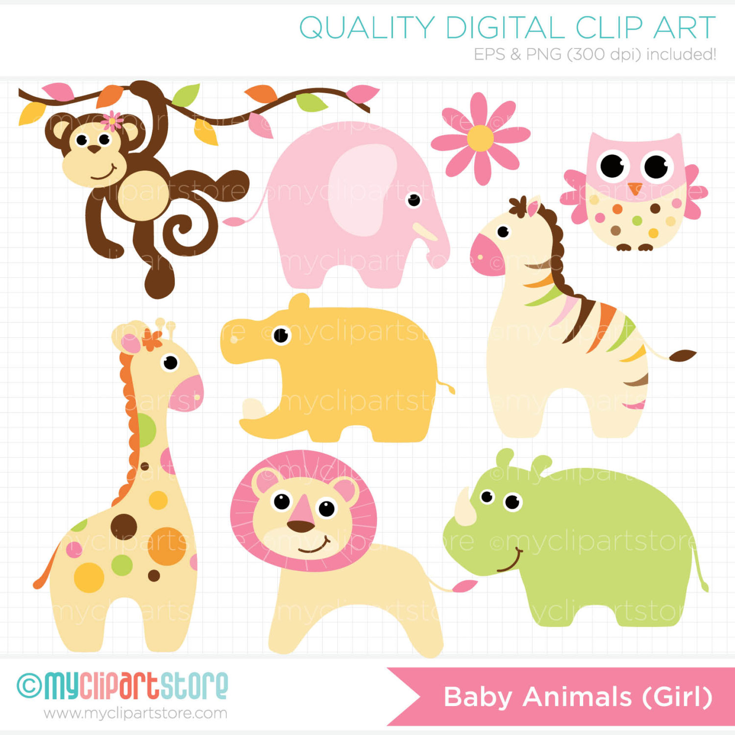 hight resolution of baby girl animals clipart
