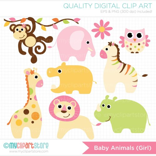 small resolution of baby girl animals clipart