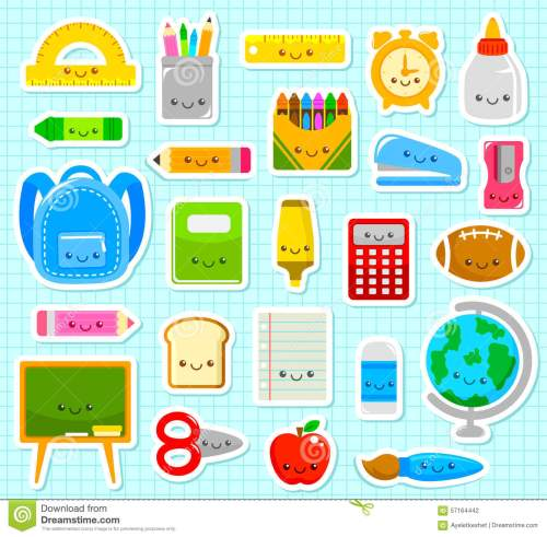 small resolution of girl school supplies clipart cute school items