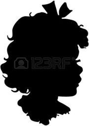 little girl silhouette head clipart