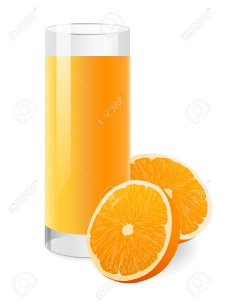 small resolution of fresh orange juice in glass with half of orange vector