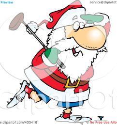 royalty free rf clipart illustration of santa golfing by ron leishman [ 1080 x 1024 Pixel ]