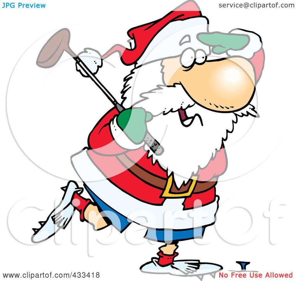 medium resolution of royalty free rf clipart illustration of santa golfing by ron leishman