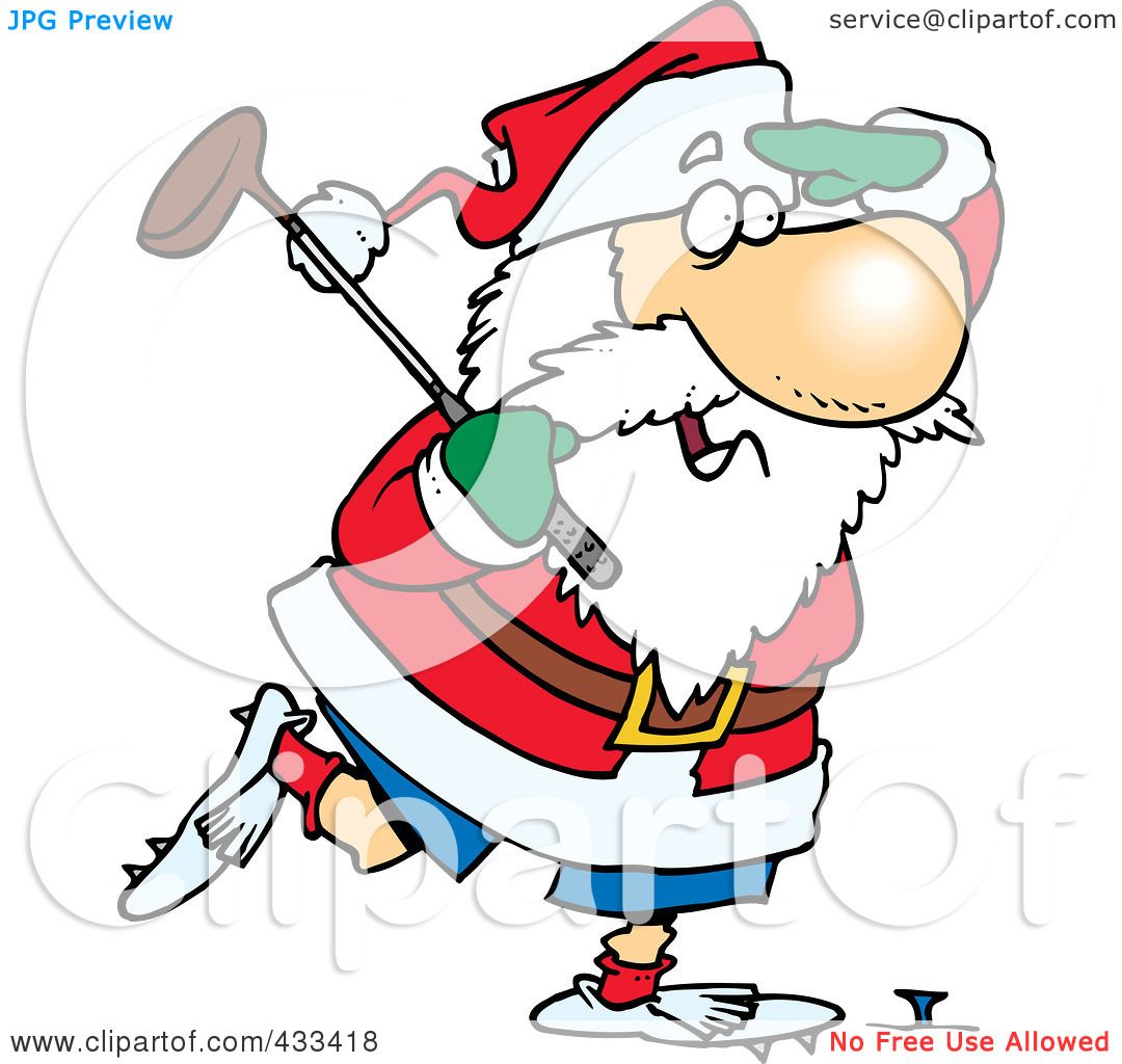hight resolution of royalty free rf clipart illustration of santa golfing by ron leishman