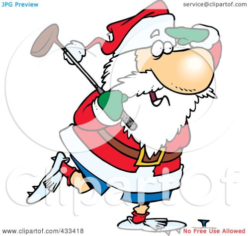 small resolution of royalty free rf clipart illustration of santa golfing by ron leishman