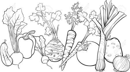 vegetables clipart vegetable coloring pages leafy garden clip illustration cartoon fruit food celery thanksgiving drawing clipground drawings printable number agers