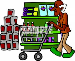 grocery clipart shopping cart african american older pushing elderly food stores assistance royalty help clipground