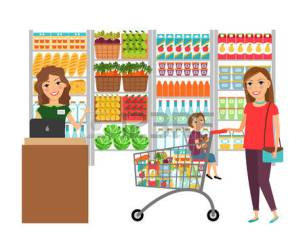 grocery clipart shopping illustration woman supermarket vector market cashier retail customer alimentari clipground cliparts background depositphotos site illustrations