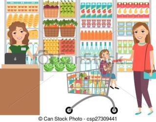 grocery clipart shopping vector market woman supermarket customer clip illustration retail icon drawing cashier line icons drawings clipground