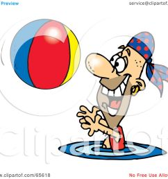 royalty free rf clipart illustration of a pirate guy swimming and playing with a beach ball version 2 by dennis holmes designs [ 1080 x 1024 Pixel ]