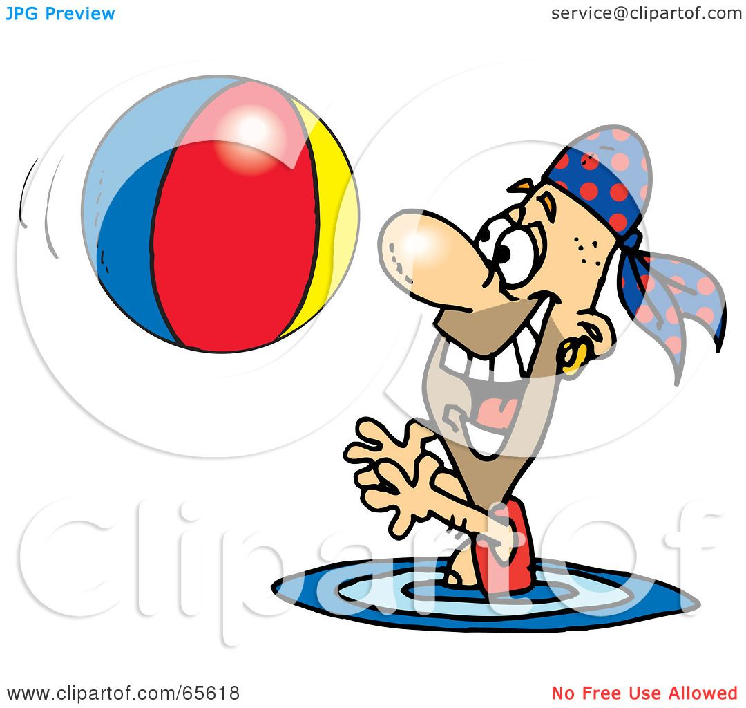 hight resolution of royalty free rf clipart illustration of a pirate guy swimming and playing with a beach ball version 2 by dennis holmes designs