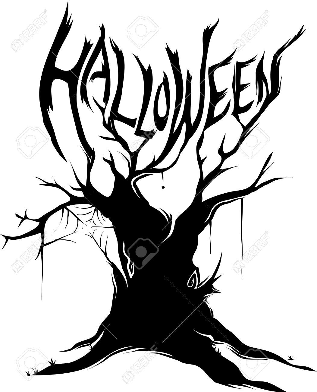 Halloween Tree Silhouette Clipart