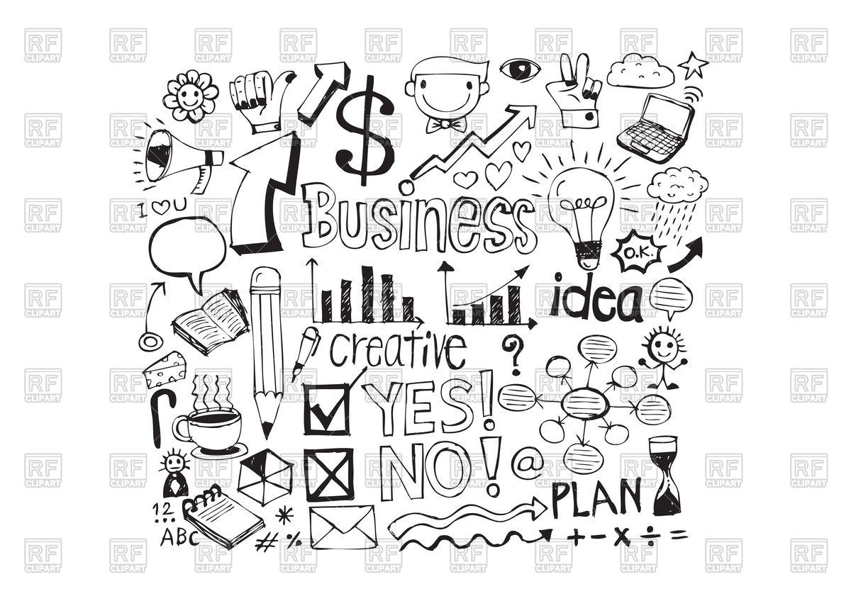 hight resolution of hand drawn business icons vector image 88001