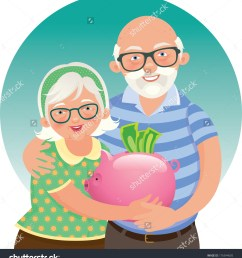 elderly husband and wife in a piggy bank in hand vector  [ 1414 x 1600 Pixel ]