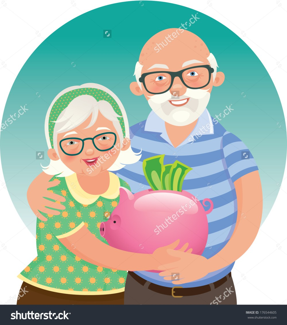 medium resolution of elderly husband and wife in a piggy bank in hand vector