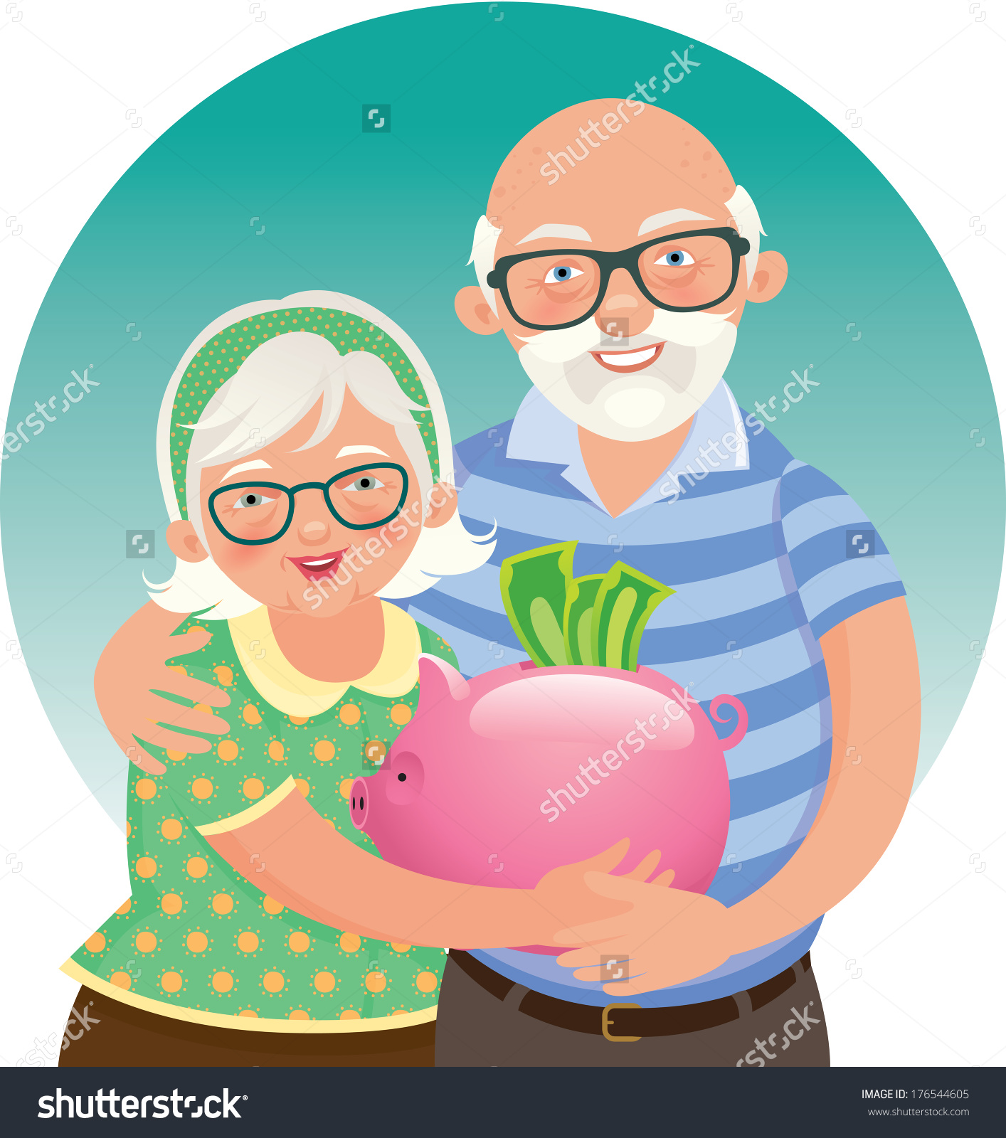 hight resolution of elderly husband and wife in a piggy bank in hand vector