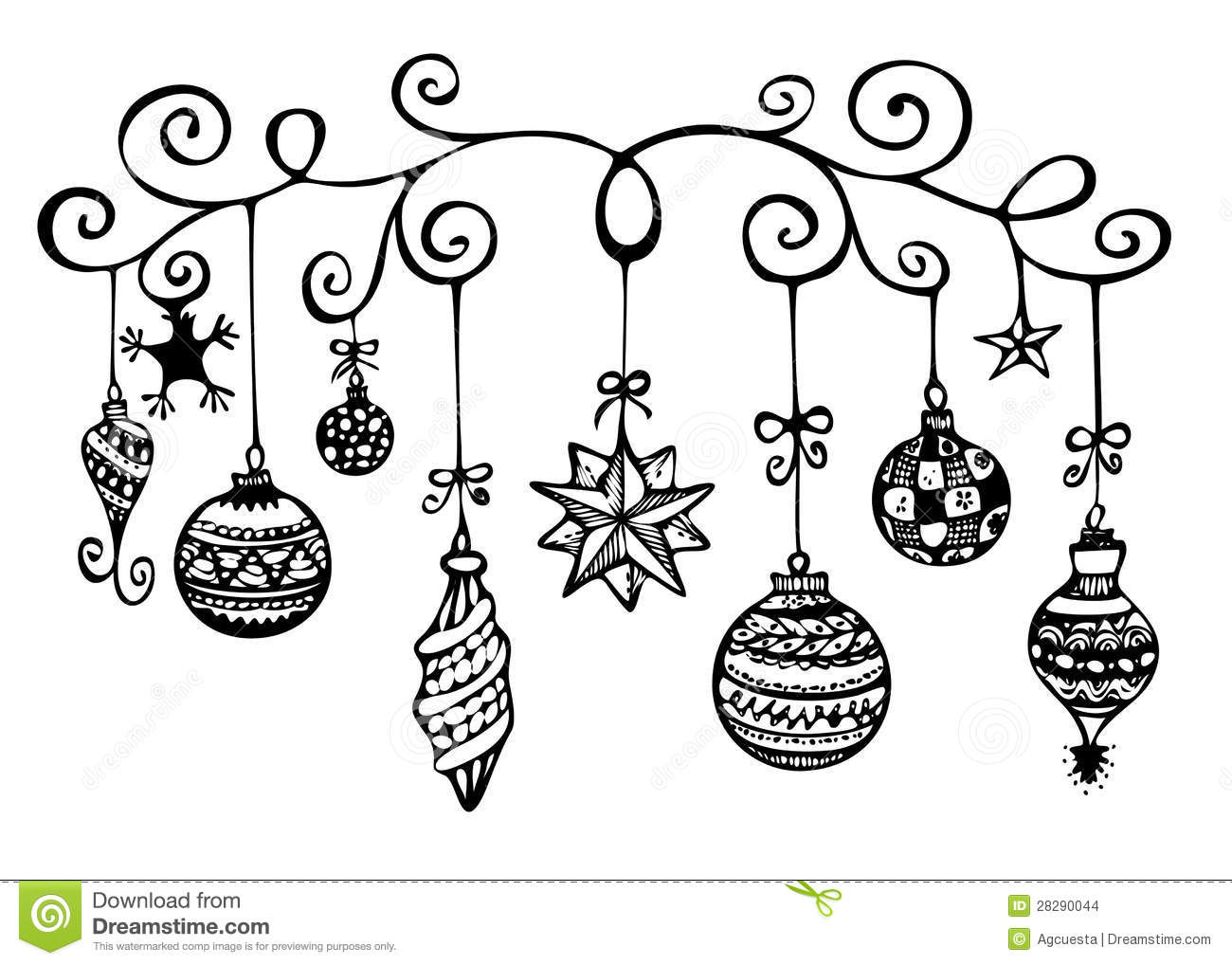 Hanging Christmas Ornament Clipart Black And White 20 Free