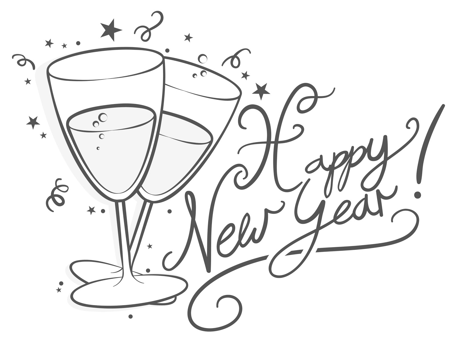 Happy New Year Clipart In Black And White 20 Free Cliparts