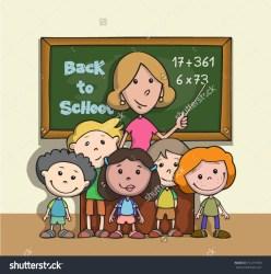 teacher happy cartoon clipart student classroom children hugging students teaching vector shutterstock clipground pic