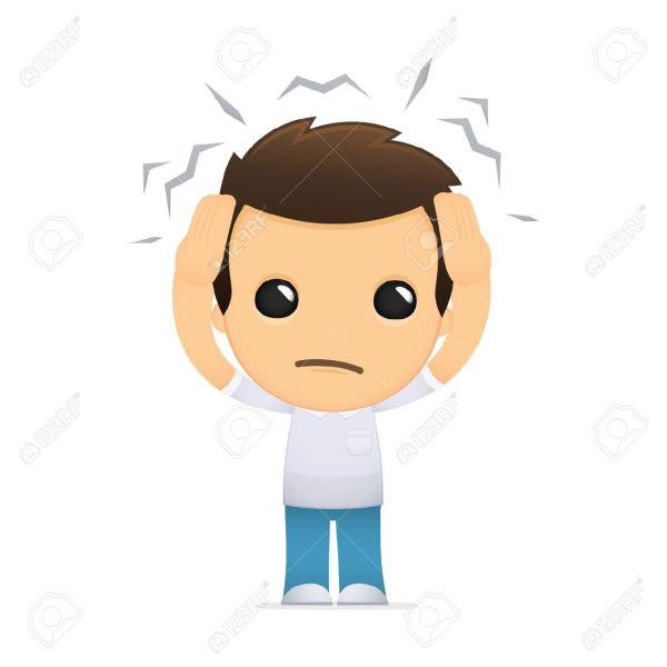 Cartoon Person with Headache