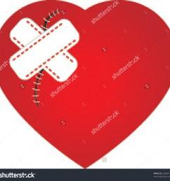 broken heart with bandaid clipart heart scar plaster stock vector 23648716  [ 1500 x 1470 Pixel ]