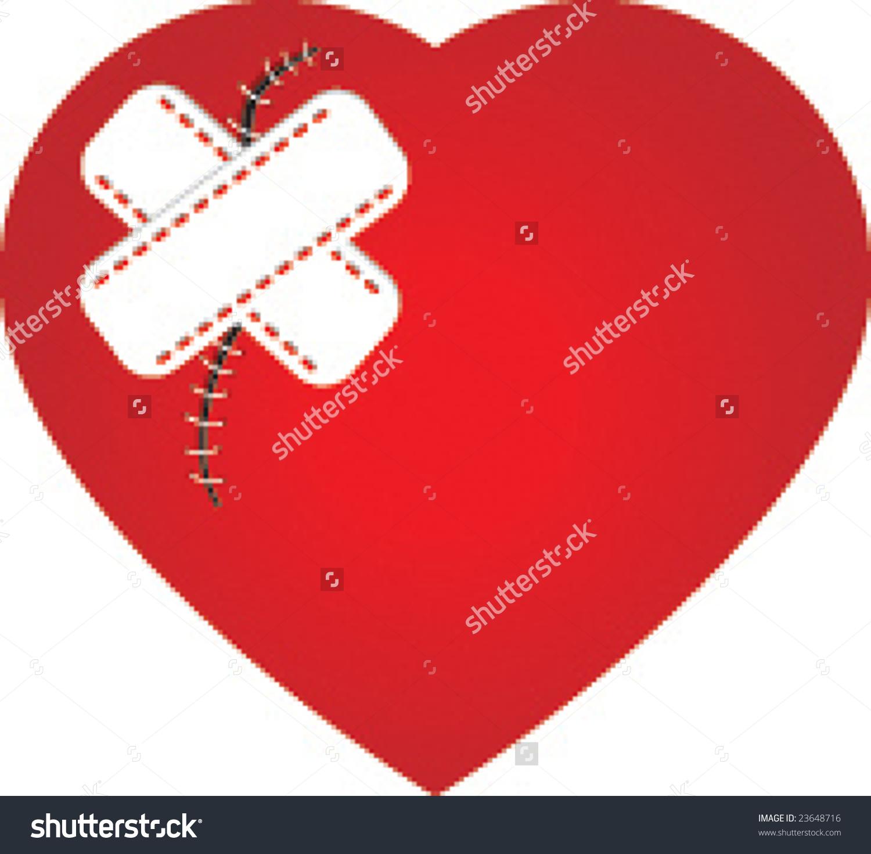 hight resolution of broken heart with bandaid clipart heart scar plaster stock vector 23648716