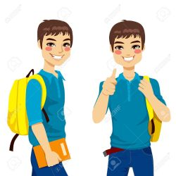 clipart student boy teenage cool students vector sign hand boys go ready making cartoon cliparts clip clipground bus nerdy cute