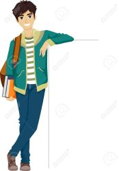 boy clipart college teenage illustration clipground illustrations leaning blank against board