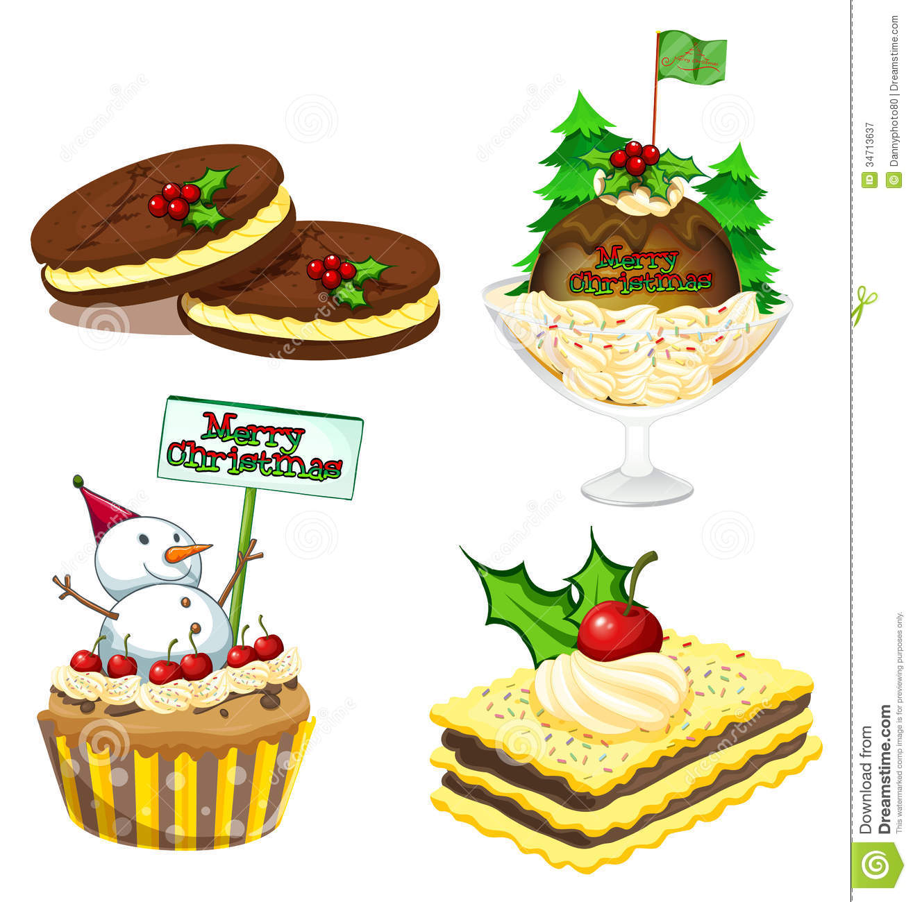 hight resolution of christmas desserts clipart