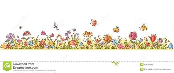 border flower cartoon clipart horizontal flowers tree grass christmas butterflies lots illustration vector long cliparts