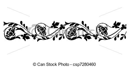 horizontal border line clipart vector seamless flowers clip drawing drawings artwork monochrome stylized clipground