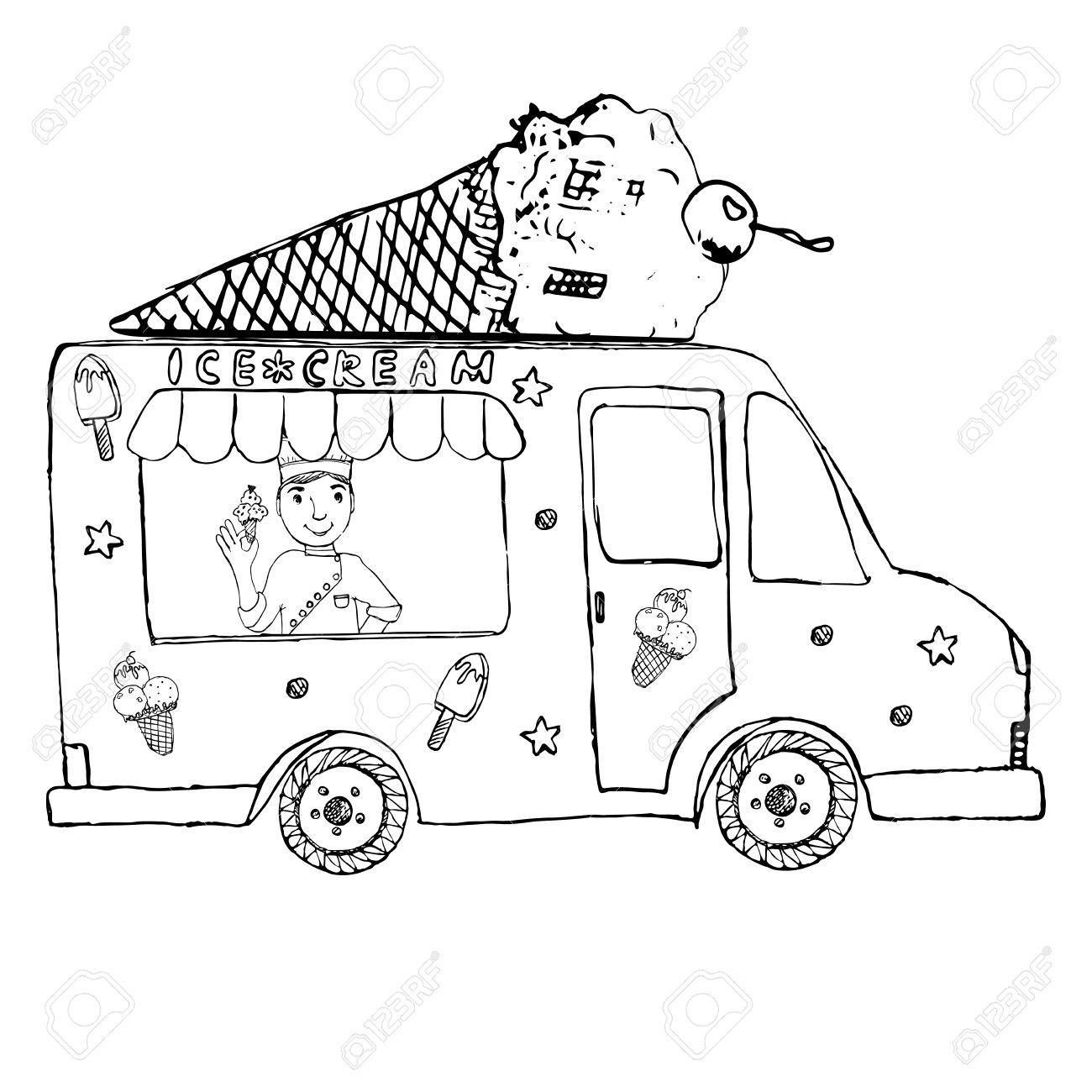 Ice Cream Truck Clipart Black And White