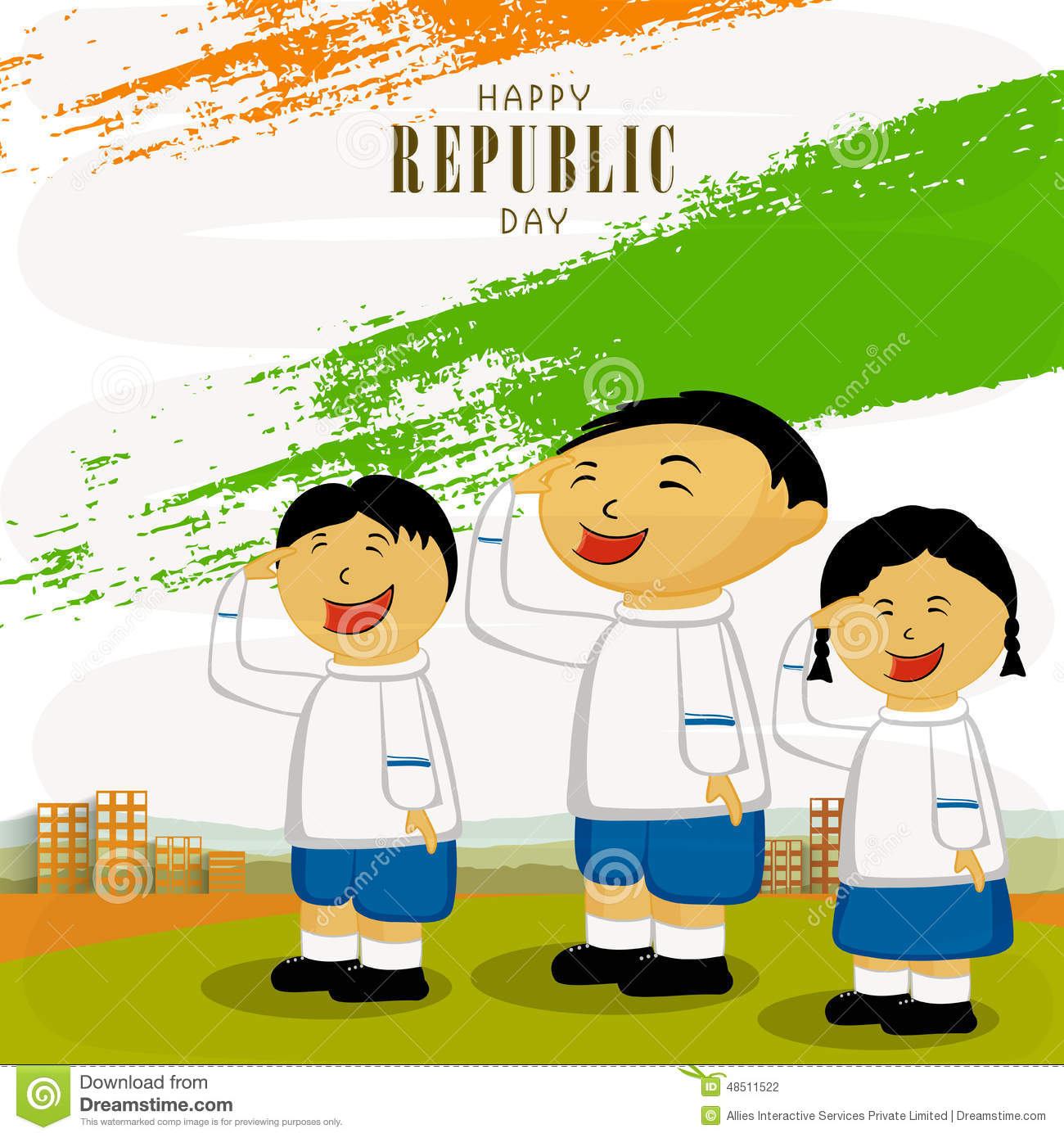Easy Drawing On Republic Day Indian Flag With Children Clipart
