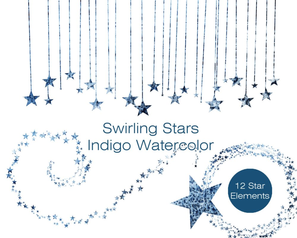 medium resolution of indigo blue watercolor star clipart commercial use clipart blue