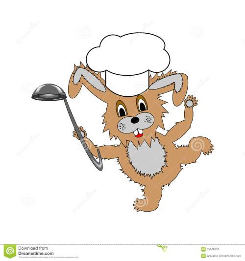 small resolution of a funny cartoon rabbit wearing a chef hat and with