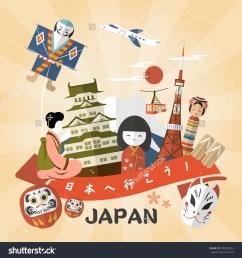 lovely japan travel poster go japan stock vector 349823525  [ 1500 x 1600 Pixel ]