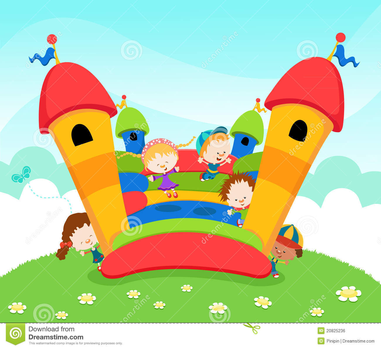 hight resolution of bounce house and slide clipart