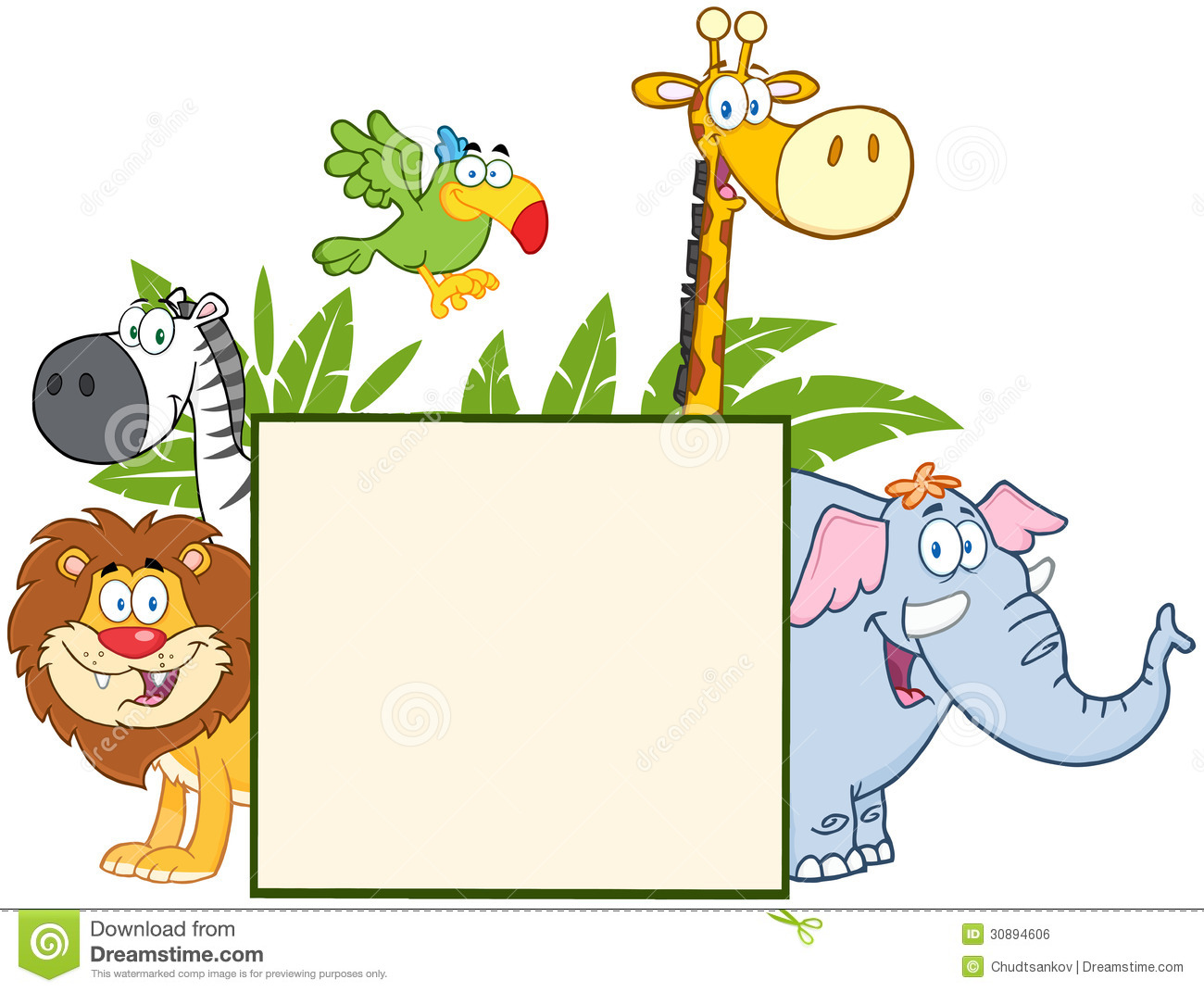 hight resolution of showing post media for cartoon jungle animal clip art borders