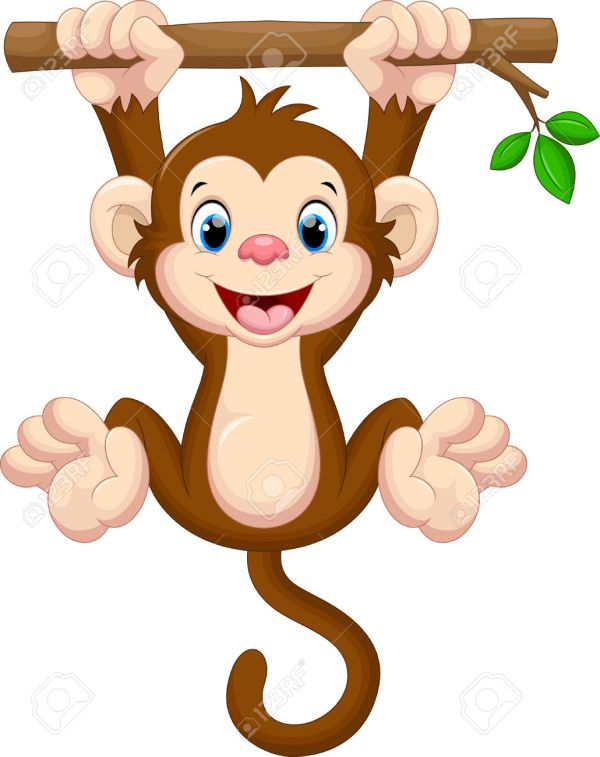 monkey hanging tree clipart