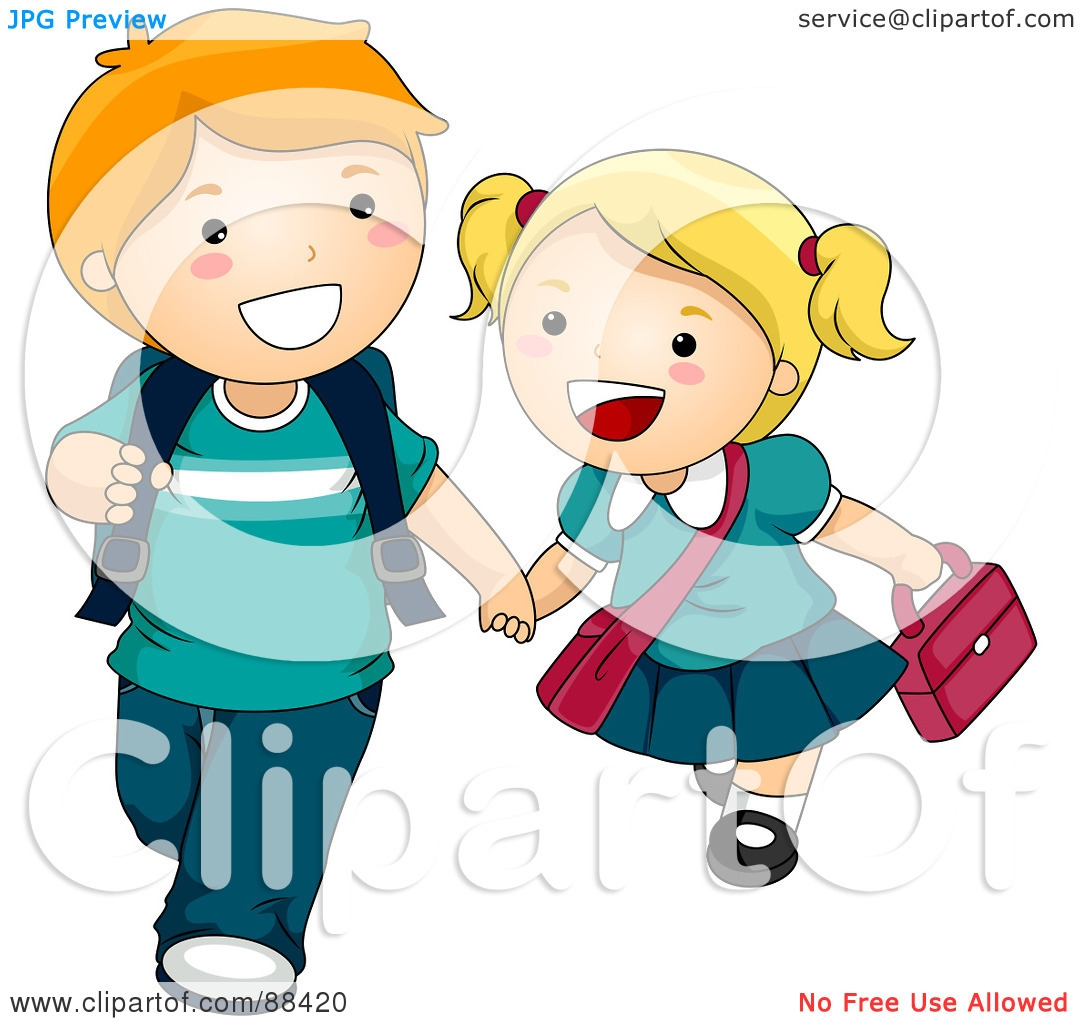 Wallpaper Girl Boy Holding Hands Kid Walking To School Clipart Clipground