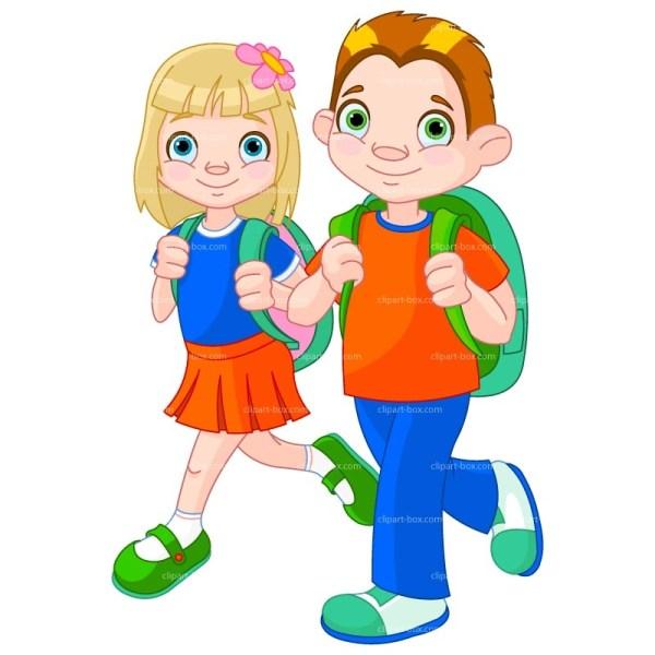 Children Walking to School Clip Art