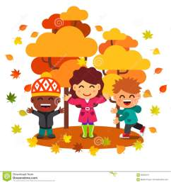 mixed race kids having fun and playing with leaves stock vector  [ 1300 x 1390 Pixel ]