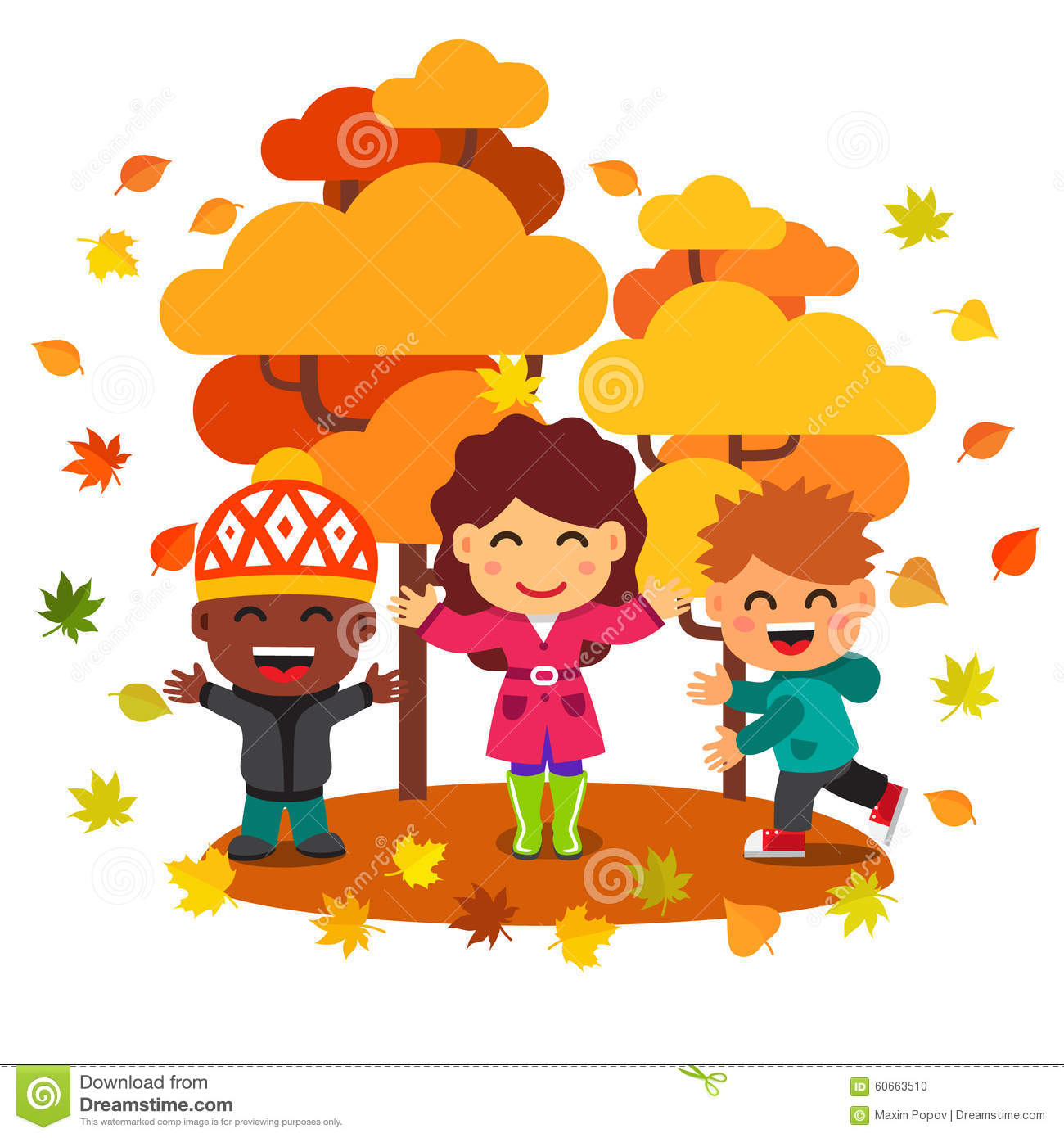 hight resolution of mixed race kids having fun and playing with leaves stock vector