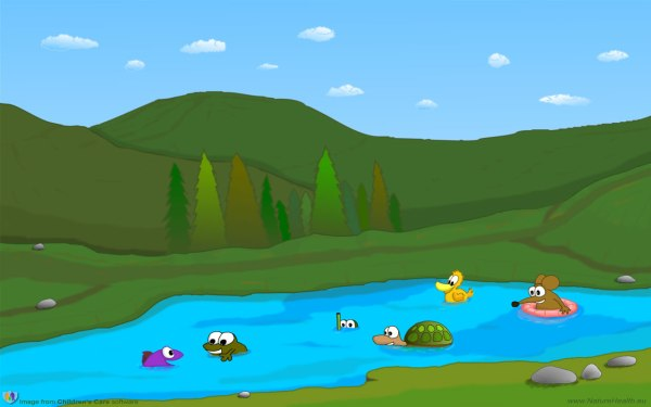 Cartoon Mountain Lake